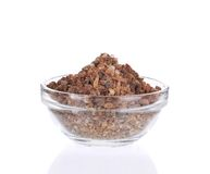 Brown sugar in glass bowl. Royalty Free Stock Photos