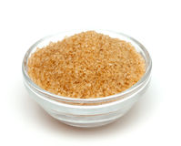 Brown sugar in a glass bowl Royalty Free Stock Photo