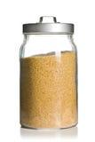 Brown sugar in jar Royalty Free Stock Photography