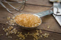 Brown sugar on measuring spoons Stock Images