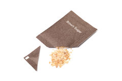Brown sugar packet. On white background Stock Photo