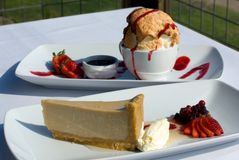 Brown Sugar Panna cotta Cheesecake & Bombe Alaska Stock Photo