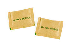 Brown sugar sachet isolated on white background Royalty Free Stock Photo