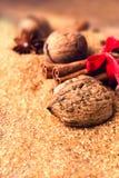Brown sugar and spices for festive baking - Cinnamon sticks, ha Stock Photo