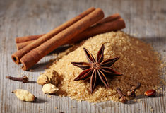 Brown sugar and spices Royalty Free Stock Photography