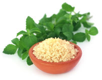 Brown sugar with stevia leaves Stock Photography