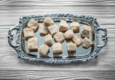 Brown sugar tray on wooden board Royalty Free Stock Images