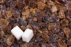 Brown sugar with two white pieces Stock Images