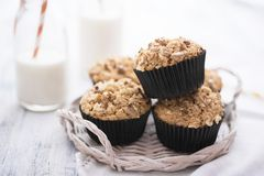 Brown sugar and walnuts cupcakes Royalty Free Stock Photos