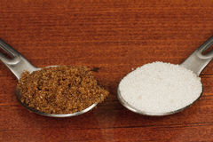 Brown sugar or white sugar Stock Photography