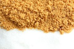 Brown suger and granulated sugar Royalty Free Stock Photo