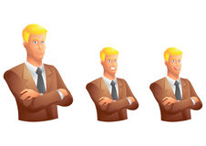 Brown suit business man with arms crossed bust Royalty Free Stock Photos