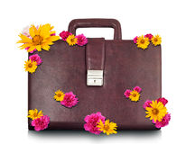 Brown suitcase with flowers Royalty Free Stock Images