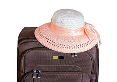 Brown suitcase and hat isolated on white Royalty Free Stock Photography
