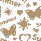 Brown summer seamless texture. Seamless texture summer silhouettes with the sun and butterflies Stock Images