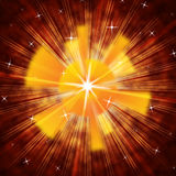 Brown Sun Background Means Radiating Light And Stars Stock Image