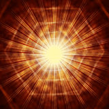 Brown Sun Background Shows Hexagons And Glowing Beams Royalty Free Stock Images
