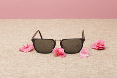 Brown Sunglasses on canvas Royalty Free Stock Photo