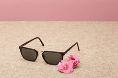 Brown Sunglasses on canvas Stock Image