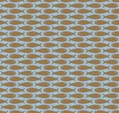 Brown sur les poissons simples bleu-clair modèlent le fond sans couture de répétition illustration de vecteur
