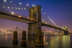 Brown Suspension Bridge during Night Time Royalty Free Stock Photo