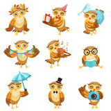 Brown sveglio Owl Everyday Activities Icon Set Immagini Stock
