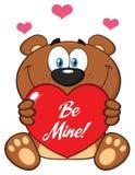 Brown sveglio Teddy Bear Cartoon Mascot Character che tiene Valentine Love Heart With Text è me Illustrazione di Stock