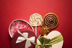 Brown Sweet Lollipops For Children And Candy Box Stock Images