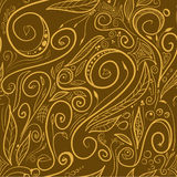 Brown swirls - seamless pattern Royalty Free Stock Photography