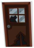 Brown-Tür mit zerbrochener Fensterscheibe lizenzfreie abbildung