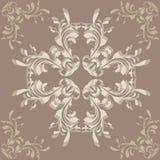 Brown tło z kwiatu ornamentem Zdjęcie Stock