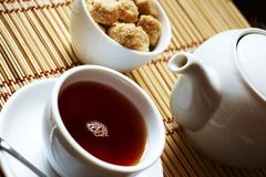 Brown table appointment for tea time Royalty Free Stock Photos