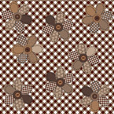 Brown table cloth with flowers Royalty Free Stock Photos