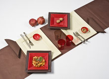 Brown table set. With some food Stock Photo