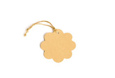 Brown tag isolate on white with clipping path, tag made from rec Stock Images