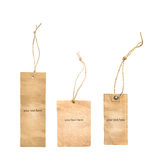 Brown tag. Brown paper tag 3 pieces Stock Photo