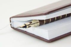 Brown-Tagebuch und Feder Lizenzfreie Stockbilder