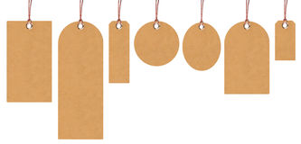 Brown tags. Set of brown price tags stock photo