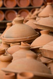 Brown Tajines at the market, Morocco Stock Image