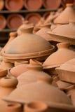 Brown Tajines at the market, Morocco Stock Image