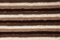 Brown, Tan, White Striped Towel Texture Closeup Stock Images