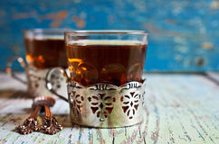 Brown tea in a glass Cup Stock Photo