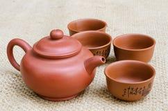 Brown Tea Set Royalty Free Stock Photography