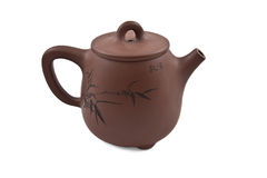 Brown teapot with floral ornament Royalty Free Stock Photos