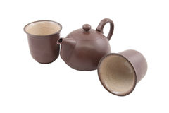 Brown teapot with two cups Stock Photo