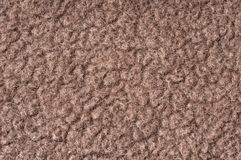 Brown tec-wool fleece. Close up of brown tec-wool fleece fabric Stock Photo