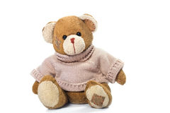 Brown teddy bear. A brown teddy bear with patch on a head sited on white Stock Photo