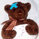 Brown teddy bear in bed Royalty Free Stock Photography