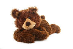 Brown teddy bear crossed arms. Brown teddy bear with crossed arms isolated on white Stock Photos