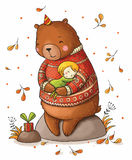Brown teddy bear hugging a girl. Royalty Free Stock Photo